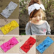 New arrival lovely fancy lace big hair bow infant headbands baby elastic hair band