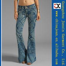 2015 bright blue women jeans wholesale print flare jeans JXL20837