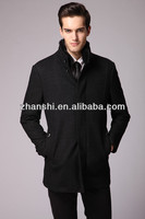 New Design High Quality Fashion Men's Black Woolen Cashmere Jacket Coat