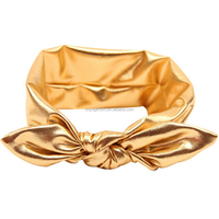 Infant Newborn Girl Toddler Metallic Baby Knotted Knot Bow Bunny Ear Headband