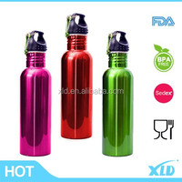 Metallic painting made in china wide mouth with carabiner single wall stainless steel sport water bottle
