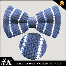 100% polyester knitted bow tie with white stripe