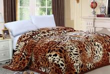100% Polyester Animal Skin Printed blanket double layer raschel mink blanket 5KG