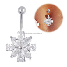 Dangle cute belly button rings with jeweled gemstone FR336