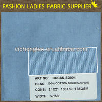 shaoxing textile pants/shoes/bags fabric 21x21s 100% cotton solid dyed canvas fabric