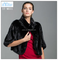 fashion winter wedding mink fur coat for bride and real mink fur cappa with half sleeves and genuine fur clothing for girls