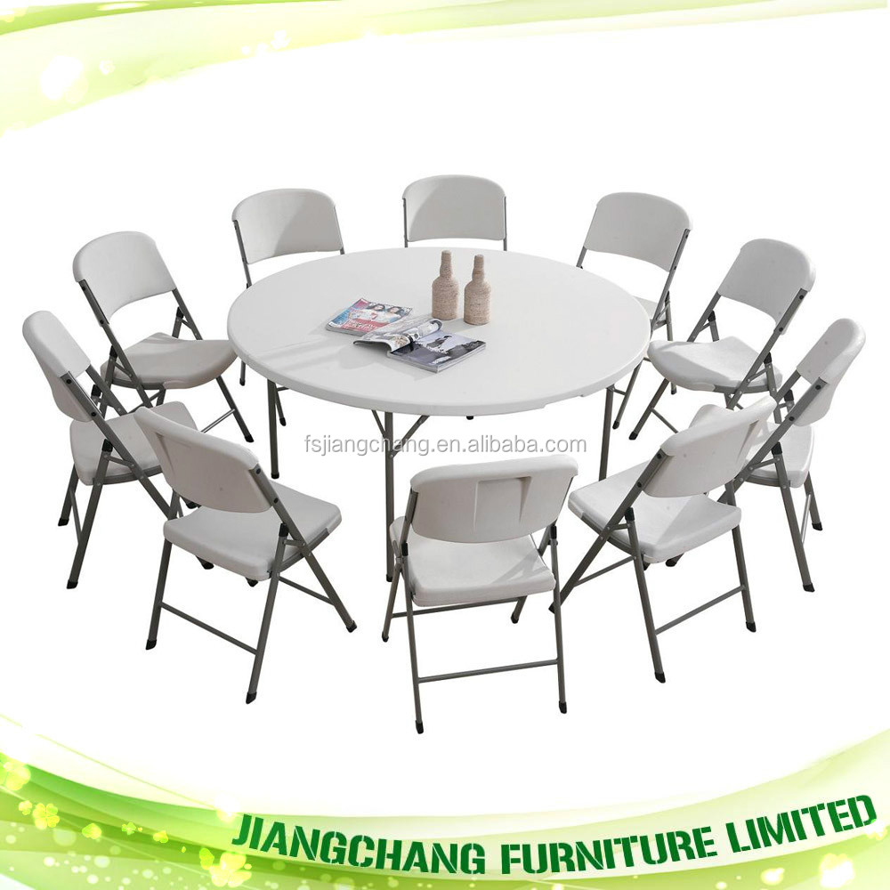 6 ft round plastic folding table and chair buy folding for 10 foot round table