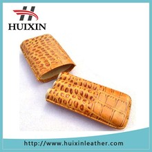 New product coffee real leather crack snake skin 3 tube cigar holder case