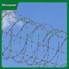 High protective BTO-12 electro-galvanized concertina razor barb wire for arid regions
