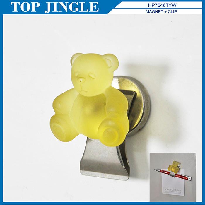 Nuevo diseño Amarillo Poli Forma Del Oso Clip de Imán