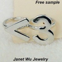 Free Shipping Express Free Sample Hottest Fashion Cheapest Women Jewelry Zinc Alloy Punk <3 Two Fingers Ring