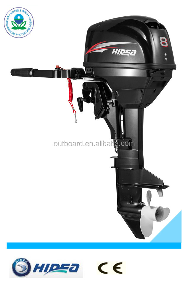 Hidea High Quality Popular 2stroke 8hp Outboard Motor manual control short shaft motor