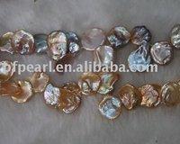 Pink feshwater loose keshi pearl strands 12-13mm