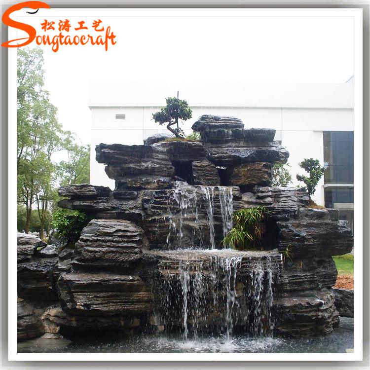 Maison et jardin mur de pierre fontaines cascades d 39 eau - Fuentes de piedra de pared ...