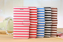 Magnetic Wallet Printed Stripe Book Leather Card Flip Stand Case for iphone 6 4.7