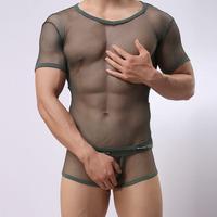 Manufacturer fishnet fabric sexy men's mesh t-shirt