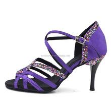 flake glitter silk girls high heels dance shoes Beatiful purple color Handmade latin/salsa dance shoes ladies fashion shoes