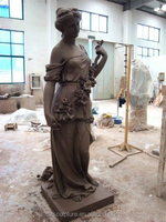 Outdoor life size lady bronze statue with flowers for park decoration