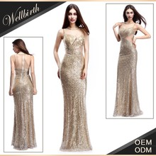 stom-made wholesale china manufacturer lady girl fashion dress lace transparency sequins bright graceful dress