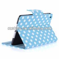 For Apple New iPad mini with Polka Dot Design leathe Dormancy flip Cover Case