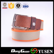 China Wholesale Two Tone Colour Ladies Canvas Belt With Leather Inlay