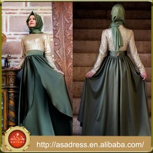 ATE05 2015 Top Design Arabic Lady Gowns High Collar Long Sleeve Two Color Muslim Evening Dresses with Hijab
