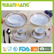 Gold rim dinnerware set, ceramic dinnerware made in china