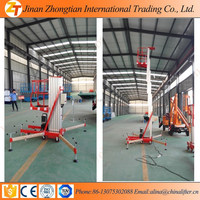 Chinese aluminum double mast man lift for painting in 2015
