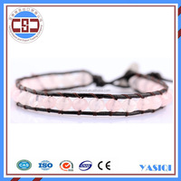 Popular fashion products pink mountain jade beaded leather wrap around stainless steel clasp bracelet