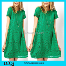 2015 New Fashion Short Sleeve Women lace Dress Summer Casual Dresses Patchwork Bodycon Party Loose Dress Vestidos