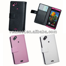 Litchi Book Wallet Leather Case Cover with Card Slots for Sony Ericsson Arc x12 LT15i Leather Case
