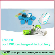 Lycek 1.2v Ni-MH Type aa usb battery precharged nimh rechargeable battery