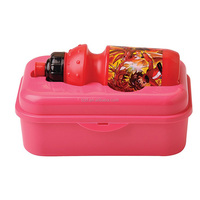 kids square food storage container with water bottle