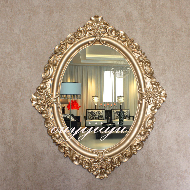 Oval european luxury decorative bathroom mirror with frame for Fancy oval mirror