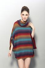 Para mujer equipo de punto poncho del suéter de cuello alto de acrílico de lana