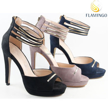 FLAMINGO 2015 LATEST ODM/ OEM Ankle Strap Platform High Heel Sandals Sexy Metal Decorated High Heel Shoes Hot Sale Party Women