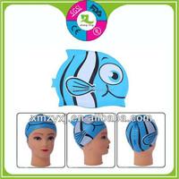 funny fish silicone child swimming caps