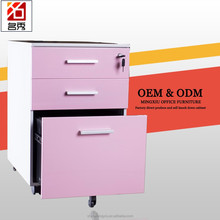 Office furniture metal 3 drawer small cabinet under desk with wheels