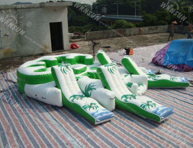 G ant 10 personne gonflable radeau de l 39 eau piscine tropical tahiti oc an - Ile flottante gonflable ...