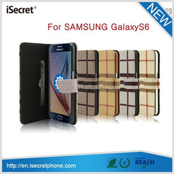 Grid pattern PU leather mobile phone case for samsung galaxy s6 for iphone6