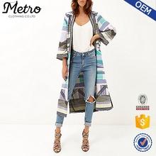 Trade Assurance 2015 Clothing manufacturer Custom made Lady Purple tribal print embellished long kimono