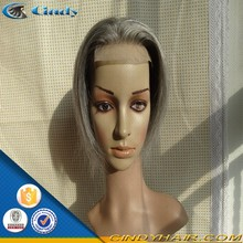good looking short styles natural wave indian remy gray hair full lace wig