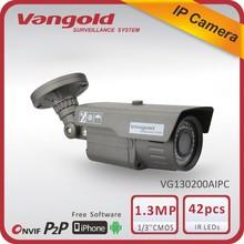 1.3MP 960P 20fps waterproof S2LM+0130 surveillance secure eye onvif IP bullet security camera with POE Vangold IP camera