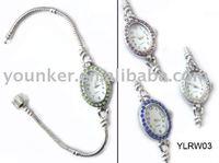 silver snake bracelet Rhinestone Watch with Snap Clasp