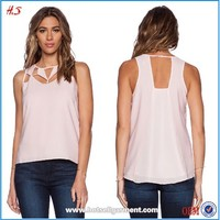 The fashion cut out neck design for ladies top tank top