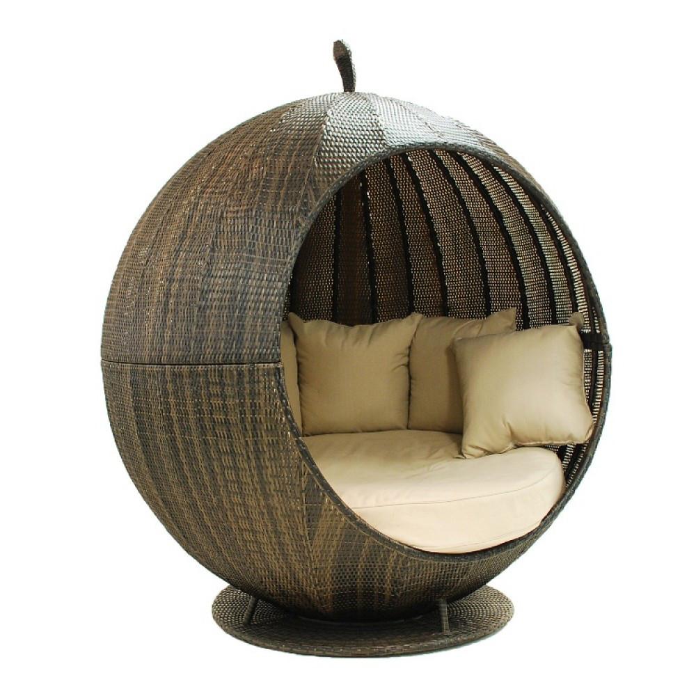 ronde rotin ext rieur confortable m ridienne avec auvent. Black Bedroom Furniture Sets. Home Design Ideas