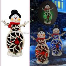 Polyresin christmas snowman character solar Christmas garden led lights