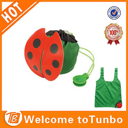 Eco ladybug polyester foldable shopping bag, reusable fabric shopping bag