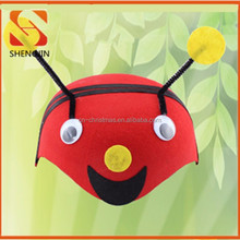 Red felt cartoon hats for kids bee hats party cap for girls party decorative hats supplier