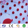 Beautiful polka dots flocking mesh lace fabric nylon spandex material